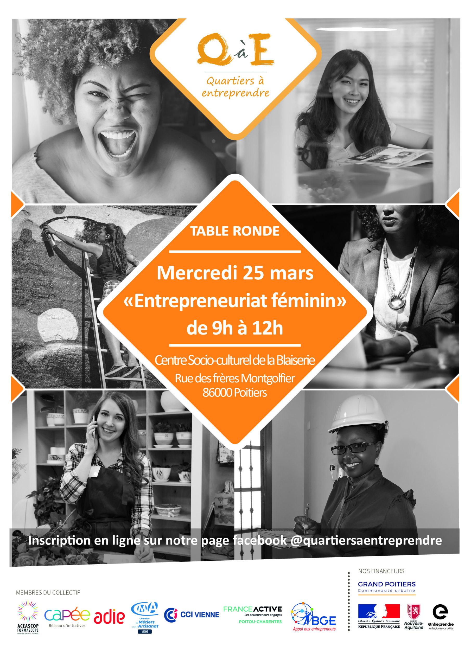 affiche atelier DAE entrepreneuriat féminin - mars 2020